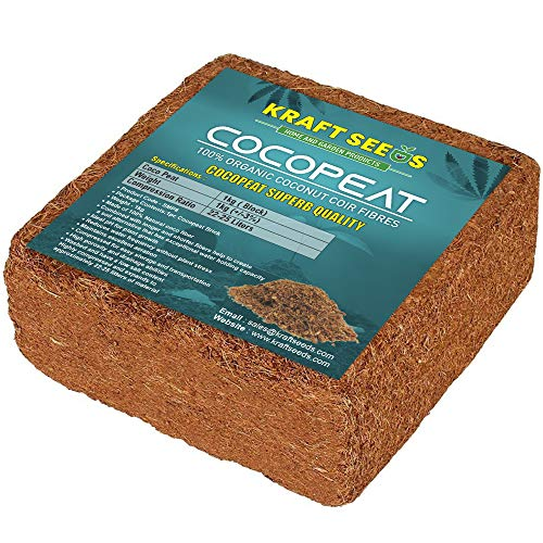 Kraft Seeds – Cocopeat Brick 1kg Block for Gardening & Plants, Expands into Coco Peat Powder (Pack of 1)