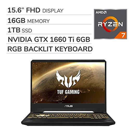 ASUS TUF Gaming 2019 15.6'' FHD Laptop Notebook Computer, AMD Ryzen 7 R7-3750H 2.3GHz, GTX 1660 Ti 6GB Graphics, 16GB RAM, 1TB SSD, RGB Backlit Keyboard, Wi-Fi, Bluetooth, Webcam, HDMI, Windows 10