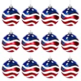 12PCS Independence Day Ball Ornament, American Flag Christmas Tree Ornaments Fourth of July Ornaments Patriotic Hanging Balls ,Veterans Day USA Themed Party Decor Supplies