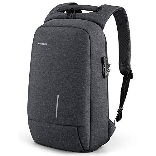 Kingsons Mochila para hombre, ligera, con bloqueo Tsa de 15,6 pulgadas, puerto de carga USB, mochila delgada para portátil de viaje