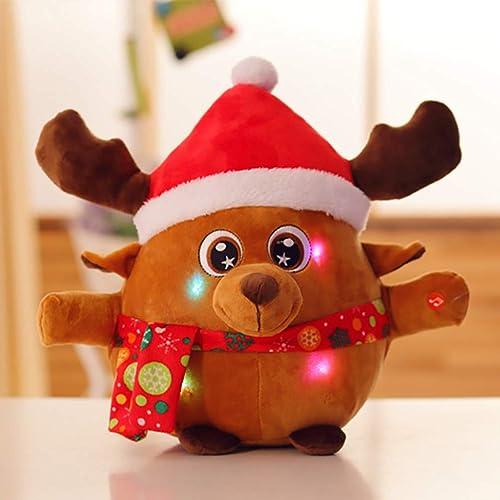 UGUAX Weißnachtsmann Elch Plüsch Spielzeug Singende und Licht Puppe Dekorieren Kreatives Geschenk für Kinder, Christmas Elk, 25.6 inch
