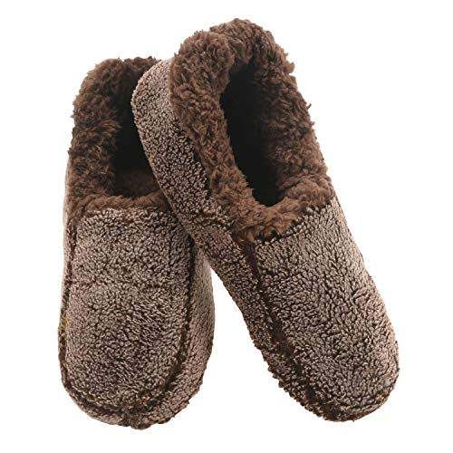 Snoozies Mens Two Tone Fleece Lined Slippers - Comfortable Slippers for Men - Chocolate - XX-Large