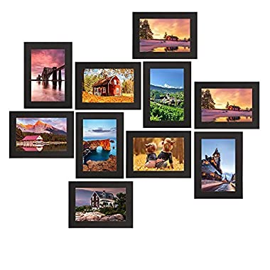 Picture Frames 4x6 inches, Solid Wood Thincken Glass Wall Mounting and Table Top Photo Frames Black, 10 Packs