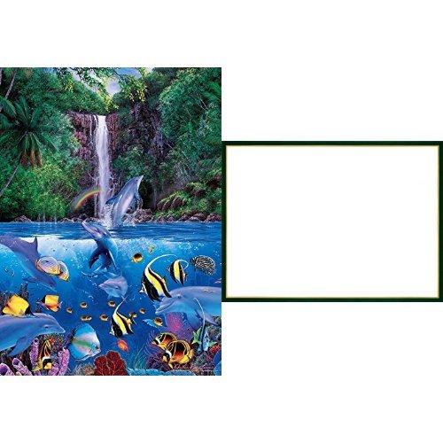 1000ピース ジグソーパズル ラッセン エターナル レインボー シーIV ベリースモールピース 【光るパズル】(38x53cm)+木製パズルフレーム ウッディーパネルエクセレント ゴールドライン シャイングリーン (38x53cm)