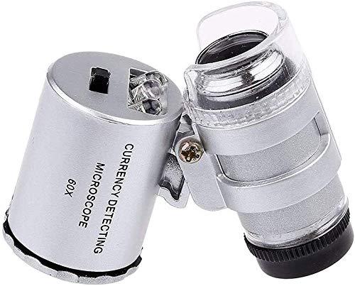 LED Verlichte Zakvergroting, Verlichte Vergrootglas Microscoop 60x Mini Sieraden Vergrootglas Identificatie Spiegel voor Diamanten Munten Markeringen