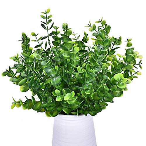 Fiori artificiali, 4 confezioni di eucalipto falso in plastica resistente ai raggi UV, mazzo di fiori di loto per interni ed esterni, giardino, portico, patio, decorazione per la casa
