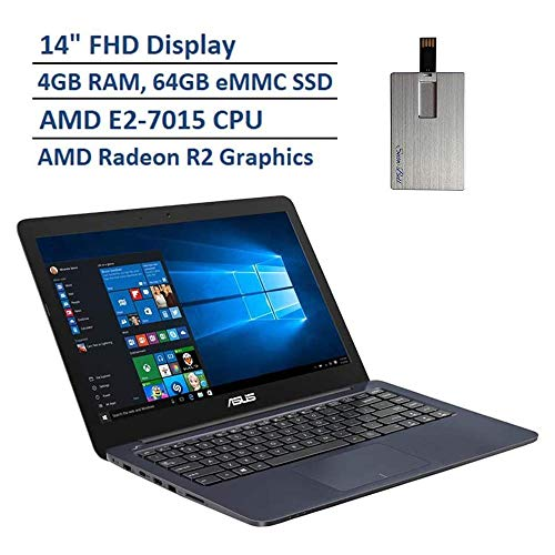 "2020 ASUS Thin & Light 14"" FHD Laptop Computer, AMD E2-7015 Dual Core Processor, 4GB RAM, 64GB eMMC SSD, VGA Camera, HDMI, 1 Year Office 365, Windows 10 S, Blue"