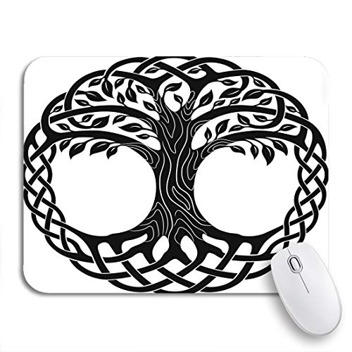 Adowyee Gaming Mouse Pad Knot Celtic Tree of Life Round Black Branches Floral 9.5'x7.9' Nonslip Rubber Backing Computer Mousepad for Notebooks Mouse Mats