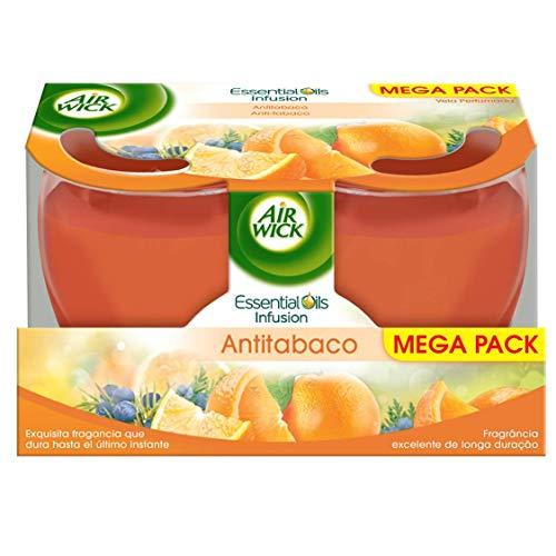Air Wick - Velas aromáticas perfumadas, esencia para casa con aroma Antitabaco - pack de 2