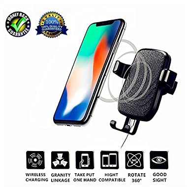 Wireless Car Charger for Galaxy S9 iPhone X, Wirelesscar Mount Wireless Charger, Auto-clamping Qi Fast Charging Wireless Charger Car Air Vent Cell Phone Holder Cradle for Samsung Galaxy S9/S9+ Plus