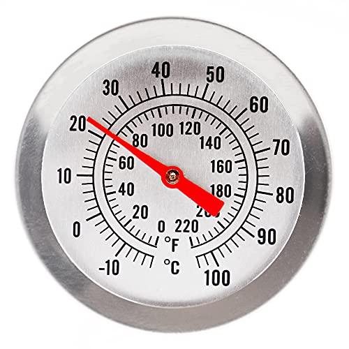 Termometro per birra artigianale, con quadrante da 52 mm e sonda da 300 mm, con clip di fissaggio