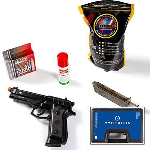 Cybergun Pistola Softair Modello Taurus para Colore Nero Full Metal a C02 Azione Singola e Raffica, Scarrellante Caricatore da 26 Pallini con Valigetta (Kit Completo)