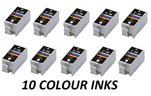10X CARTRIDGOS COMPATIBLES Canon CLI-36 COLOURINK para Canon PIXMA IP100, IP110, Mini 260,320 CLI-36C