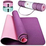 Esterilla de yoga TPE para fitness, gimnasio, pilates y yoga, antideslizante, plegable, 183 x 63 x 0,6 cm (violeta + rosa)