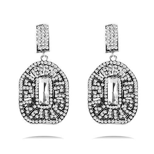 EHXWL Pendientes de Cristal de Bohemia Color de Plata Antiguo Pendientes de Gota de circón Blanco Negro Verde Azul para joyería de Mujer