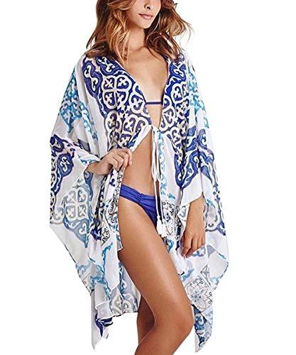 Uniquestyle Femmes Bohemian Kimono Beachwear Cardigan VêTement Tunique De Plage Cover Maillot de Bain Bikini Cover Up Robe de Plage Transparente Bleu1