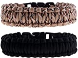 Paracord Survival Bracelets - Set of 2 - Easy to Open Clasp by The Friendly Swede (Black / Desert Camo, 6.49 inches / 16.5 cm Wrists)