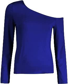 Jojckmen Women Oblique Shoulder Sexy Tee Girl Slim Solid Long Sleeve Basic Shirt
