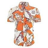 Playa Camisa Hombre Verano Ajustada Moderna Hombre Hawaiana Camisa Moda Estampado Cuello Kent Botón Placket Manga Corta Casual Camisa Vacaciones Secado Rápido Deportiva Camisa D-4 L