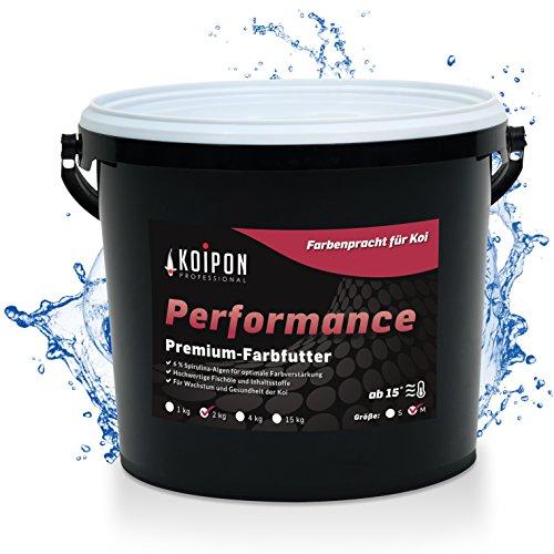 KOIPON Performance Koifutter für Farbe schwimmend, 6{a00799bce314e6401153b51ca27a8484fee00192ecd48508c950d8c6a34f0b51} Spirulina, Sommer Teichfutter 6mm Pellets, Koifutter 2 kg, als Goldfischfutter geeignet