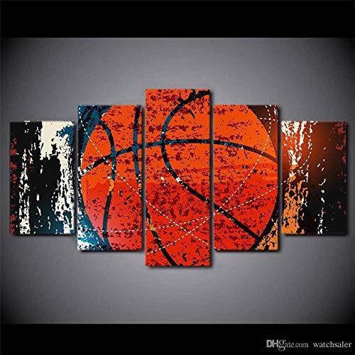 45Tdfc 5 Panel Wall Art Deportes Abstractos de Baloncesto Pintando la impresión de la Pintura en Lienzo Pictures para decoración de casa Pieza de Regalo de Firstwallart