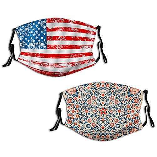 2 Pcs US American Flag Paisley Floral Ornate Pattern Cultural Folk Persian Middle Eastern Face Mask Reusable Washable Masks Cloth for Men and Women,S Night Blue