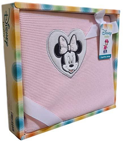 Disney – Manta para bebé 100% algodón Jersey para cuna | Manta Disney Baby con bordado Minnie y Mickey Mouse | Excelente idea regalo Licencia Oficial Disney (rosa)