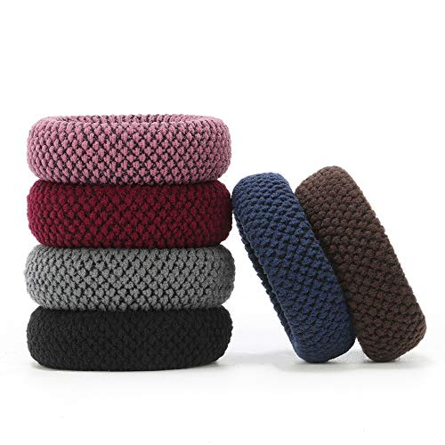 Thick Hair Ties for Girls, Cute Seamless Hair Elastics Ties Bands, Women High Ponytail Holders Headband Soft Non Slip Elastic Hair Bands for Thick Heavy and Curly Hair (Mixed Colors 6 PCS)