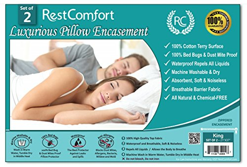 RestComfort Set of 2 Cotton Terry Pillow Protectors, Bed Bug...