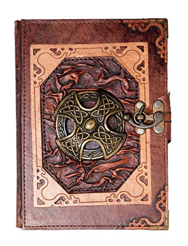 Genuine Brown Leather Bound Journal Celtic Cross Pendant Notebook Notepad Diary (Large)