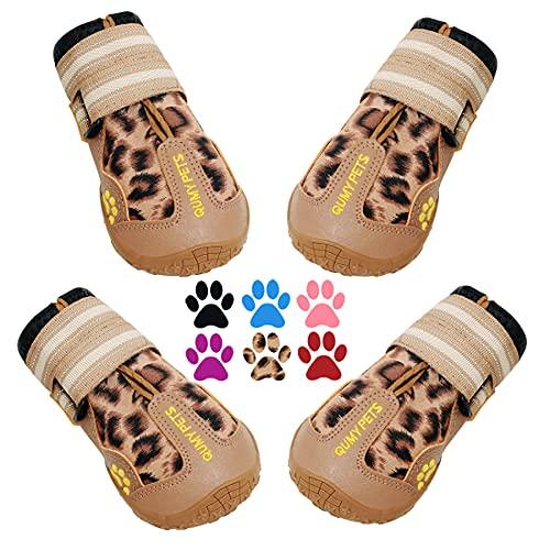 QUMY Botas de perro impermeables para perros con correa reflectante, suela antideslizante resistente, negro, 4 unidades (tamaño 4: 6,6 x 5,3 cm, leopardo)
