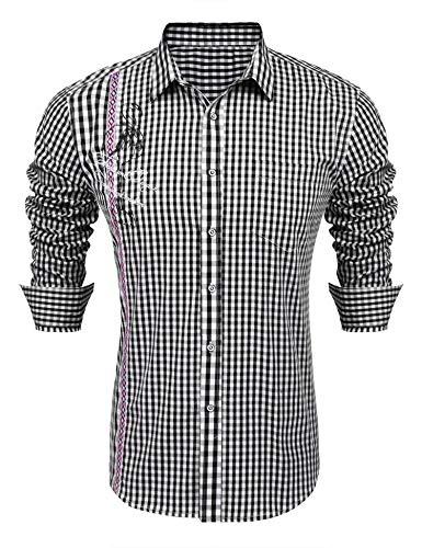 COOFANDY Herren Freizeit Hemd Kariert Slim Fit Trachtenhemd für Männer
