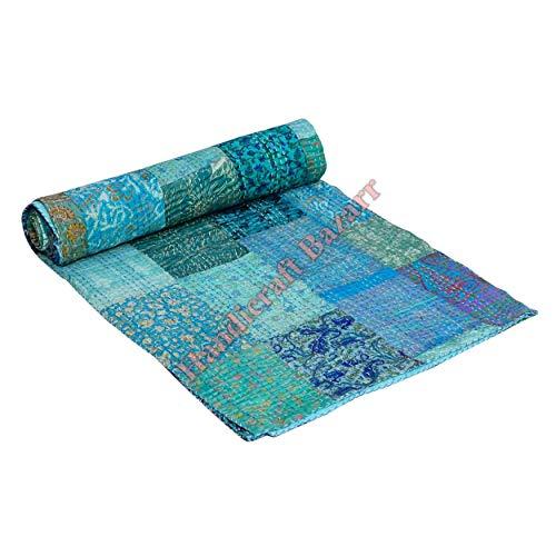 Handicraft Bazar Sala de estar Sofá Vintage Patch Trabajo Ropa de cama Colcha Decoracion Colchas de piso Mantas Patchwork Diseño Impreso Patola Funda de cama de seda por Amazon (b, 108 x 220 cm aprox)