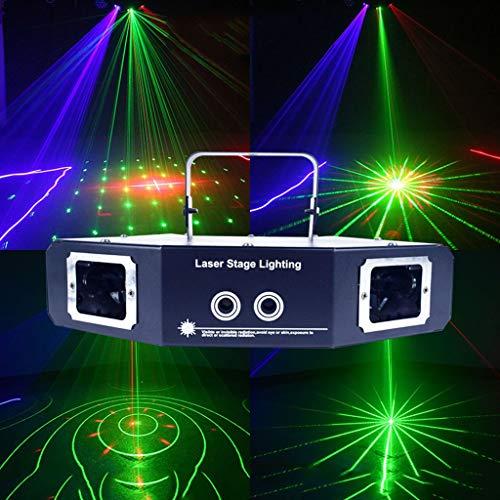 LED Licht 4 Objektiv Muster-Projektor DJ-Disco-Licht Mini-LED-Blitzlicht-Ton aktivierte Bühnenbeleuchtung Indoor for Birthday Parties Hochzeit Karaoke KTV Bar Weihnachtsfest