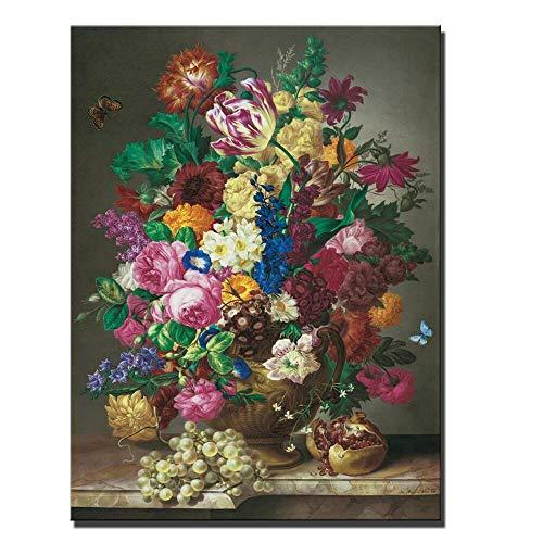 wZUN Pintura al óleo de Flores sobre Lienzo, Estilo clásico, jarrón Abstracto, Flor, Arte Pop, Cartel de Pared e impresión, decoración de imágenes, 60x80 cm