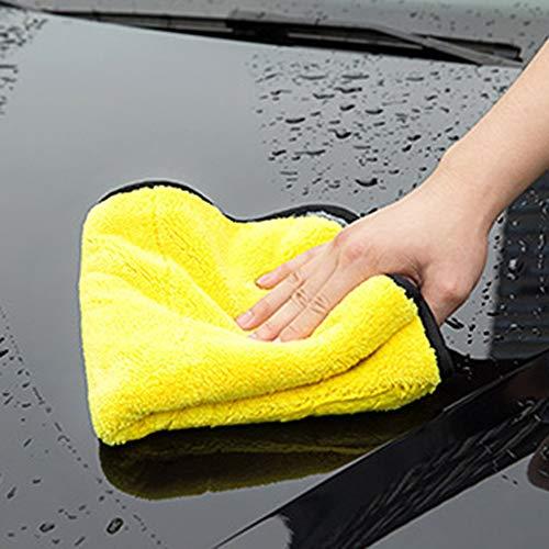 Toallitas de terciopelo coralino súper absorbentes herramientas de lavado para el cuidado del automóvil Toalla de microfibra para lavado de autos - gris + amarillo 30 * 60 CM