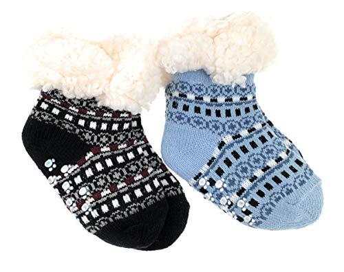 2 Paar Baby Hütten Socken Kinder Home Socks mit Teddyfutter Kuschelsocken Lammfellimitat ABS-Sohle Größe 12-24 M, Farbe Set 1 - blau/schwarz