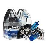 LETRONIX Halogen Auto Lampen H4 12V 8500K Kalt Weiß Xenon Optik Gas Ultra White Look Birnen Lampe Abblendlicht Nebelscheinwerfer Fernlicht Kurvenlicht Zulassung E-Prüfzeichen (LED Optik) (H4 55/60W)