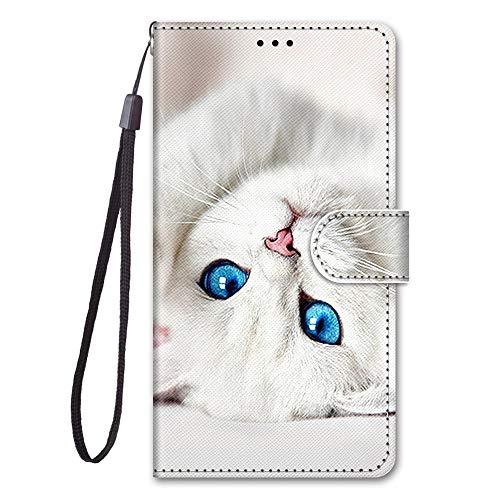 Nodigo für LG K41S / K51S Leder Hülle Magnetisch Kickstand mit Kartenfach 360 Grad Tier Muster Motiv Lustig Design Silikon Hüllen Handyhülle Wallet Tasche Hülle Mädchen Damen - weiße Katze