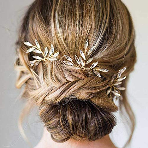 Fairvir Hochzeit Gold Strass Haarnadeln Brautschmuck Tropfenform Haarnadel Zubehör Schmuck für Frauen und Mädchen 3 Stück
