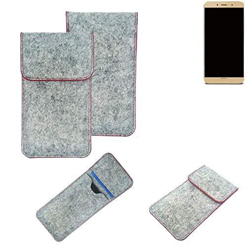 K-S-Trade Handy Schutz Hülle Für Allview X4 Soul Lite Schutzhülle Handyhülle Filztasche Pouch Tasche Hülle Sleeve Filzhülle Hellgrau Roter Rand