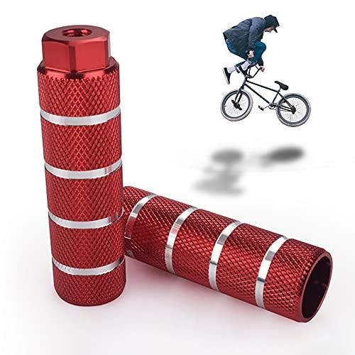 LORESJOY Pedale BMX in Lega di Alluminio,Picchetti Bike, Pedane Bicicletta,Antiscivolo,Poggiapiedi da Bicicletta,per BMX Bicicletta Mountain Bike Bambini e Adulti (Red)
