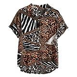 Camicia Top Tavola da Surf Longboard Camicia Hawaiana Summer Fashion Pannello con Risvolto a Righe Leopard Stampato Manica Corta da Uomo (M,1- Marrone)