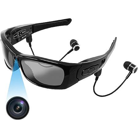 メガネ型カメラ サングラスメガネカメラ スポーツカメラ メガネ型 隠しカメラ 超小型カメラ 1080P画質 メガネ型ビデオカメラ スパイカメラ 録画 撮影 高音質 Bluetooth イヤホン スマホ対応 iOS/Android対応 音量調節 ハンズフリー通話 サイクリング ランニング用 会議/商談/授業記録 証拠撮影 防犯対策 日本語取扱説明書付き