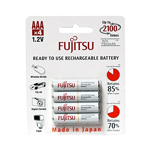 Fujitsu Ready to Use AAA HR03 NiMH Rechargeable Batteries 750mAh - 4 Pack
