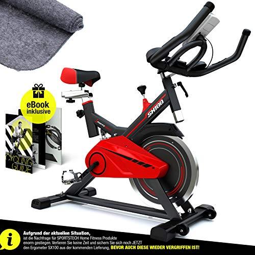 Hometrainer, Sportstech professionele indoor cycle fiets SX100, vliegwiel 13 kg, beklede armleuning, comfortabel zadel, polsslagmeting met fluisterstille riemaandrijving + vloerbeschermingsmat