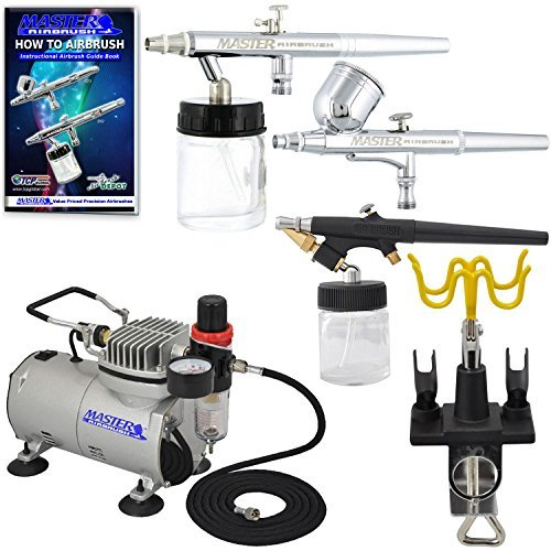 3 Master Airbrush Professional Multi-Purpose Airbrushing System Kit - G22, S68, E91 Gravity & Siphon Feed Airbrushes, Hose, Air Compressor, Universal Airbrush Holder - How-To-Airbrush Guide Booklet