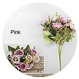 Small-shop Artificial flowers Fleurs artificielles en Soie pour Fausse Pivoine, Bouquet de Fleurs artificielles, décoration de Mariage, Belle Mini Roses Roses Roses pour la Maison Rose