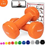 POWRX Mancuernas Vinilo 4 kg Set (2 x 2 kg) + PDF Workout (Orange)