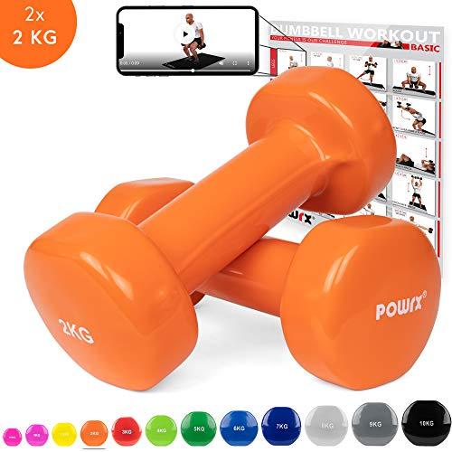 POWRX Vinyl Hanteln Paar Ideal für Gymnastik Aerobic Pilates 0,5 kg – 10 kg I Kurzhantel Set in versch. Farben (2 x 2 kg (Orange))